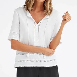 Vetta The Lace Blouse in White S G4